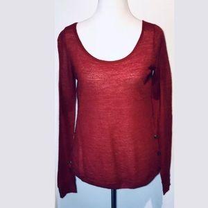 CLUB MONACO Red Spice 100% Alpaca Bateau Sweater